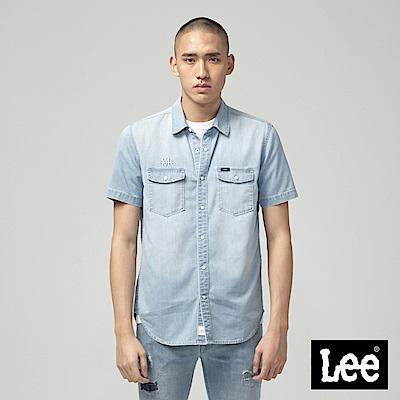 Lee 牛仔短袖襯衫-藍