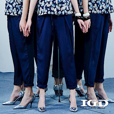 IGD英格麗 都會修身打褶西裝褲-深藍