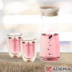 ADERIA 日本進口貓咪耐熱玻璃冷水瓶900ML(白)附雙層耐熱玻璃杯200ML-2入