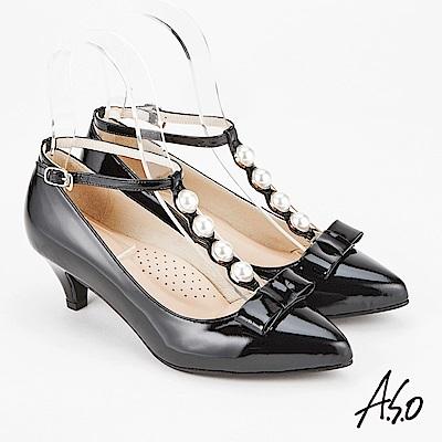 A.S.O 百變女伶 時尚摩登都會低跟鞋 黑