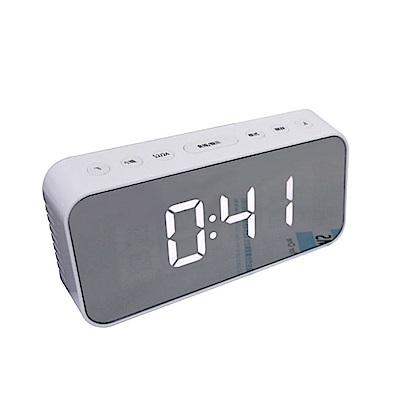 KINYO 多功能鏡面電子鬧鐘(TD-393)白色-USB/電池雙供電