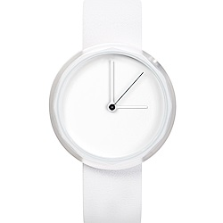 AÃRK 純白極簡主義真皮革腕錶 -質感白/38mm