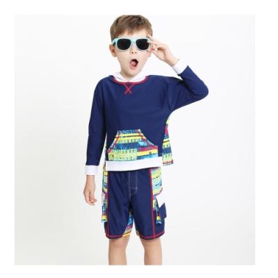 澳洲Sunseeker泳裝抗UV防曬長袖連帽泳衣泳褲泳帽兩件組-小男童-4193005SUE