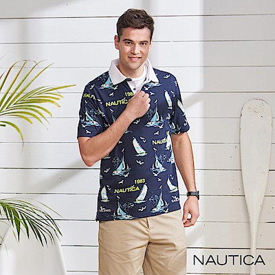 Nautica 海洋圖騰短袖POLO衫-深藍