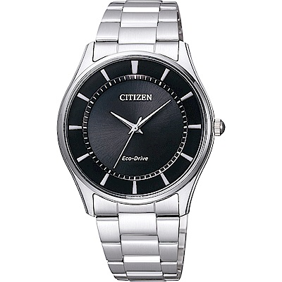 CITIZEN 星辰 光動能城市腕錶-黑x銀/36mm(BJ6481-58E)
