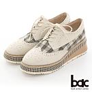 【bac】復古風潮小方頭異材質雕花格紋厚底德比鞋-米色