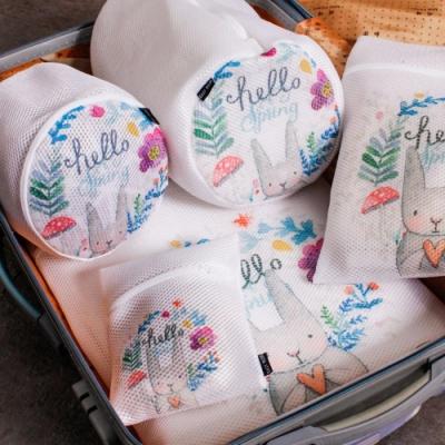 [時時樂限定]可愛兔蜂巢式加護洗衣袋5件組(贈無痕衣架收納架)