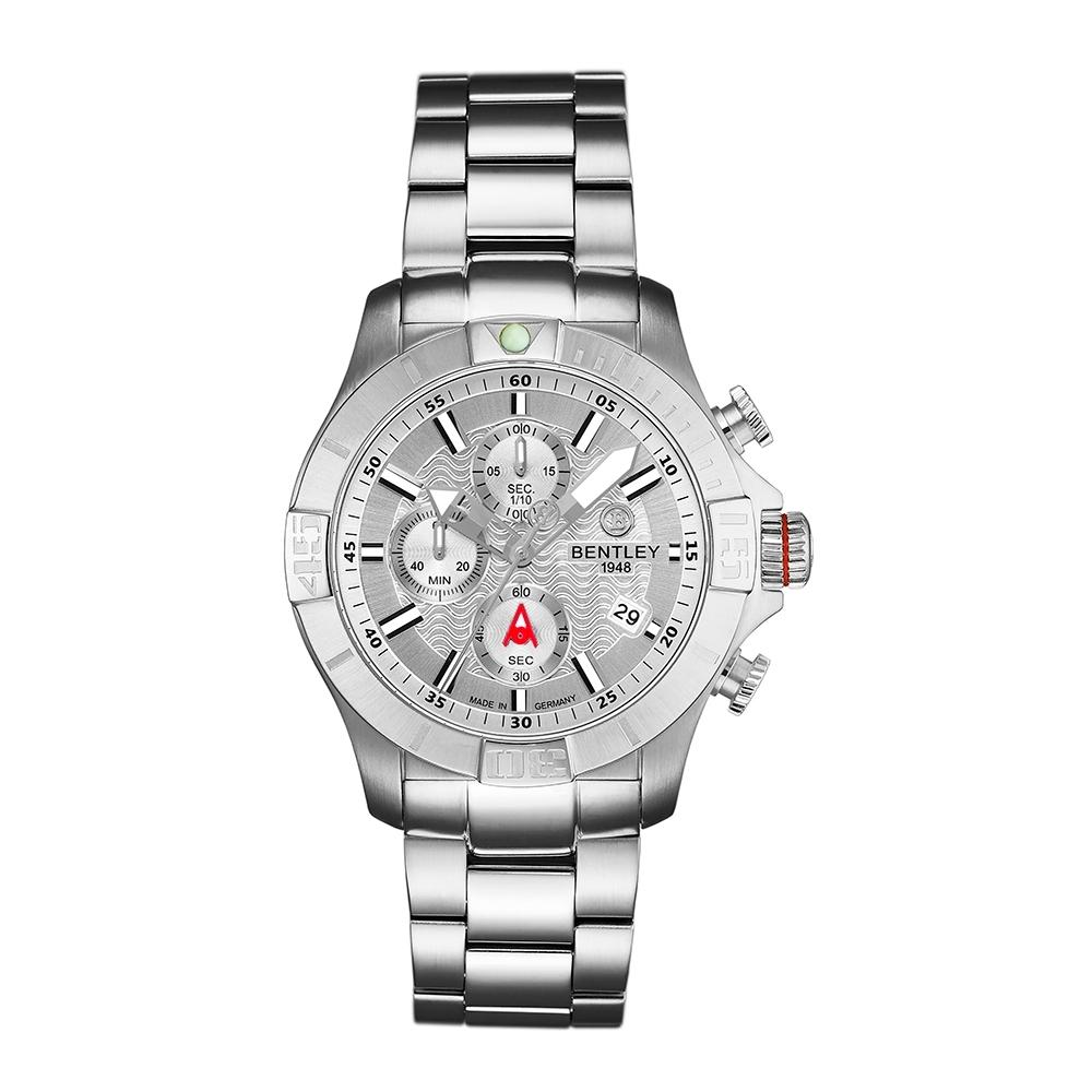 Bentley 賓利 AQUAMARINE系列 三眼不銹鋼手錶-銀/43mm