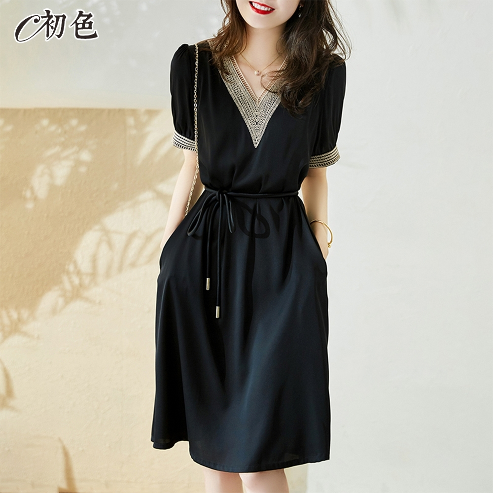 初色  氣質繫帶收腰連身裙-共2色-(M-2XL可選)