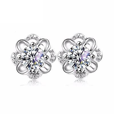 米蘭精品 925純銀耳環-永生花鑲鑽耳環