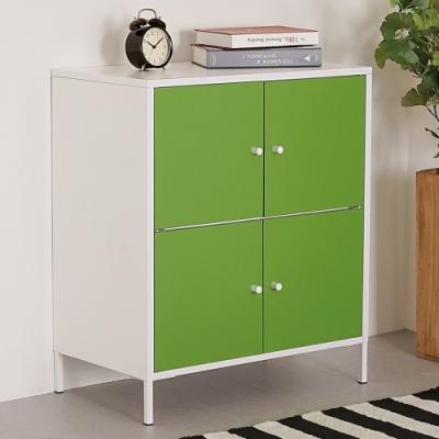 Homelike 波琳鋼製四門置物櫃(草地綠)-65x36x74cm
