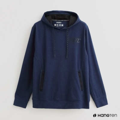 Hang Ten - 男裝 -ThermoContro-簡約抽繩連帽機能帽T-藍