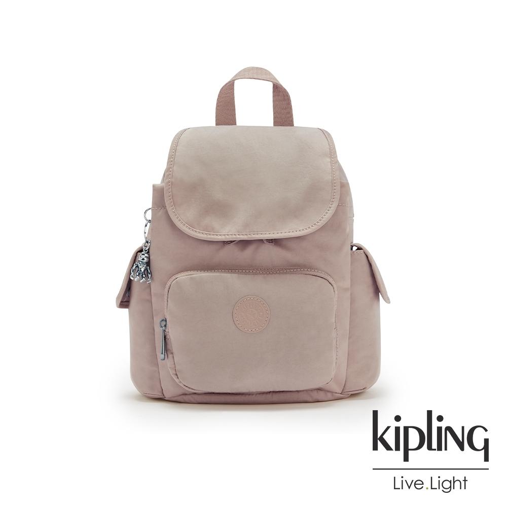 Kipling 玫瑰拿鐵色拉鍊掀蓋後背包-CITY PACK MINI