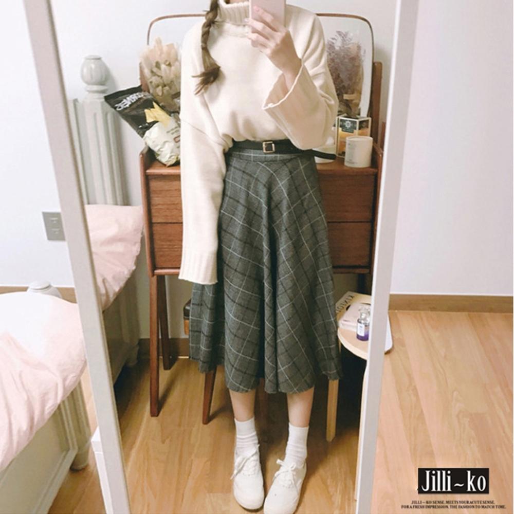 JILLI-KO 學院風高腰毛呢格子半裙-附皮帶- 深灰格 (灰色系)