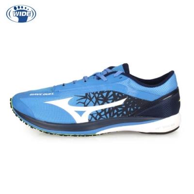 MIZUNO 男 路跑鞋-WIDE WAVE DUEL 寶藍白黑