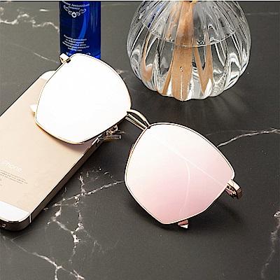 尚佰家 寶麗萊鏡片女款流行抗UV太陽眼鏡-金框櫻花粉(390)