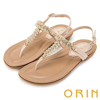 ORIN 耀眼時尚 葉子造型鑽飾牛皮夾腳涼鞋-米色
