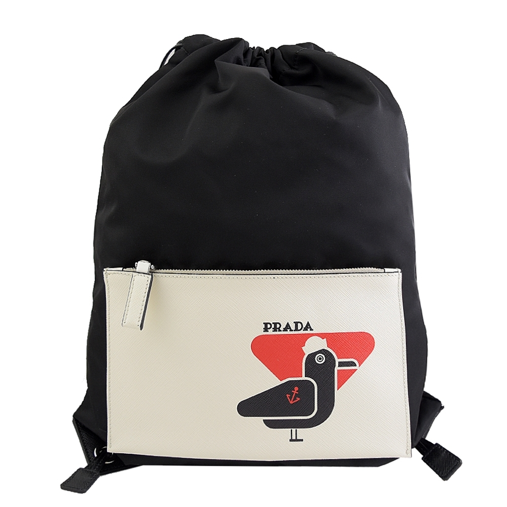 PRADA 塗鴉LOGO海鷗圖樣拼接尼龍束口後背包(黑)