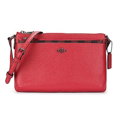 COACH 馬車經典LOGO 素面防刮格紋皮革前口袋斜背包(附可抽取式小包)-紅