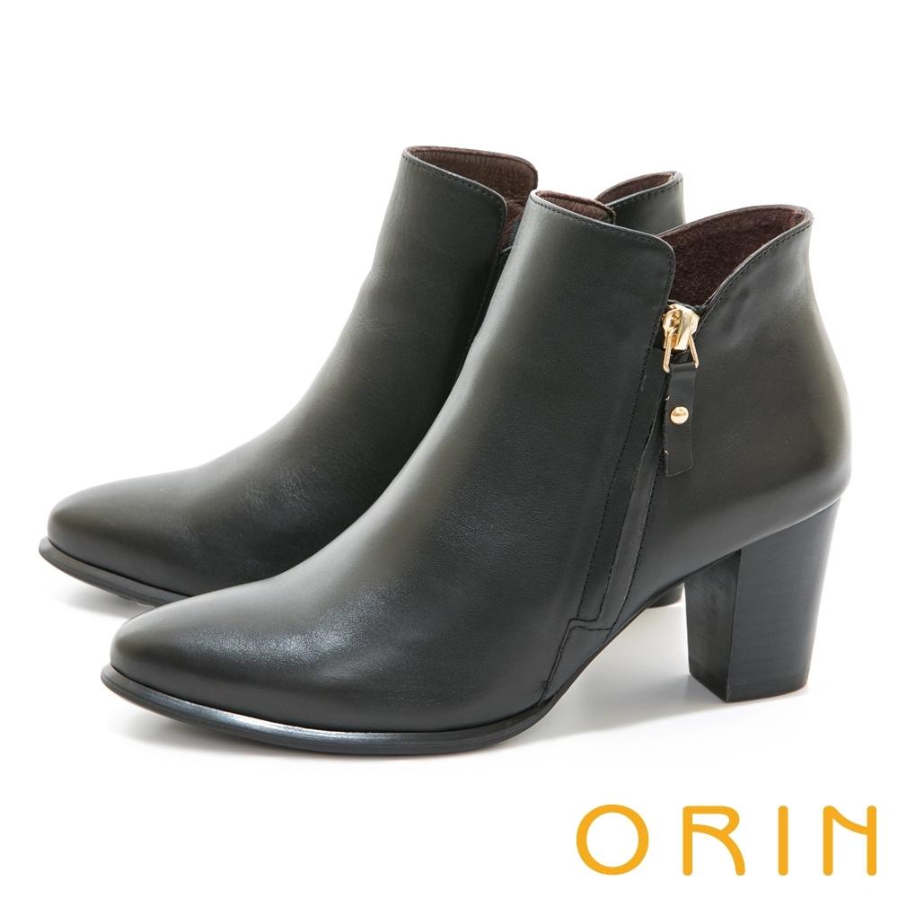 ORIN 時髦真皮拉鍊高跟 女 短靴 黑色