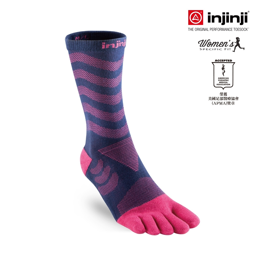 【INJINJI】女款Ultra Run終極系列五趾中筒襪 [紫紅]