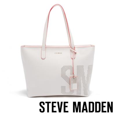 STEVE MADDEN-BDEMI 簡約率性LOGO簍空設計托特包-淺棕色