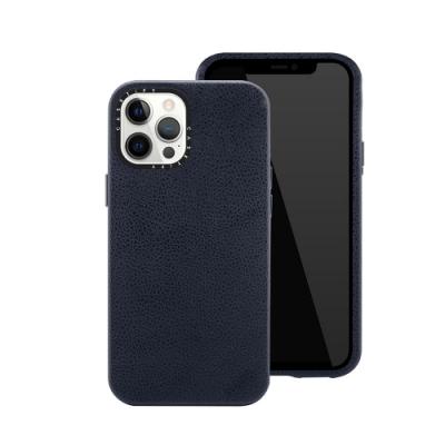 Casetify iPhone 12/12 Pro 純素皮革保護殼-海軍藍