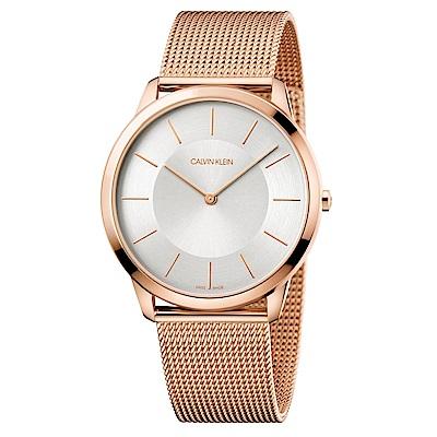 CALVIN KLEIN minimal系列鍍PVD玫瑰金白面手錶-43mm