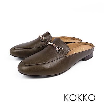 KOKKO -  最遙遠的距離綿羊皮方頭穆勒鞋-橄欖綠
