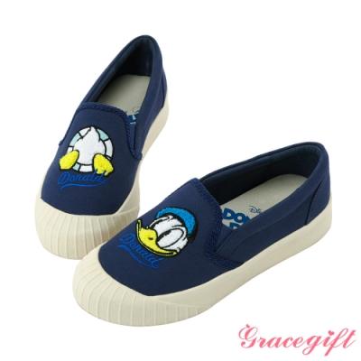 Disney collection by gracegift不對稱電繡平底鞋 藍