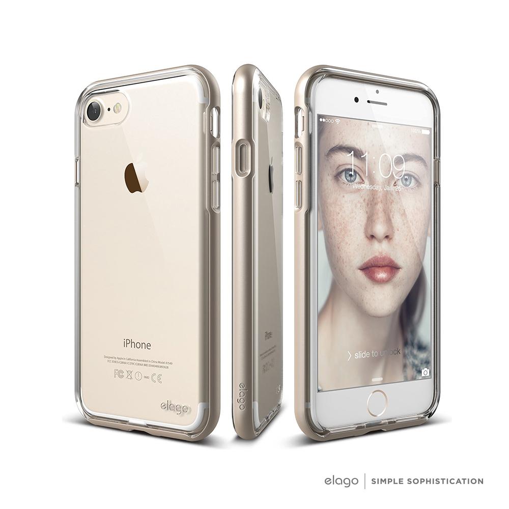 elago iPhone 7 時尚防摔邊框手機保護殼- 金色