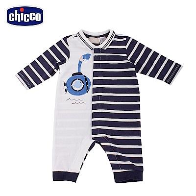chicco-潛水艇-條紋有領前開兔裝 (無腳套)