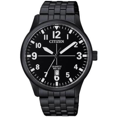 CITIZEN 簡約風尚數字刻鋼帶男錶-IP全黑(BI1055-52E)/35mm