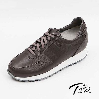 【韓國T2R手工訂製增高鞋】真皮質感綁帶隱形增高鞋-灰