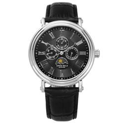 ARIES GOLD 日月相錶 羅馬時標 藍寶石水晶玻璃 真皮手錶-黑色/43mm