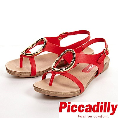 Piccadilly 舒適軟底 大O裝飾釦環夾腳涼鞋 女鞋-紅(另有白)