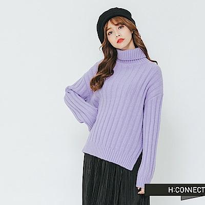 H:CONNECT 韓國品牌 女裝-側開岔坑條翻領針織上衣-紫