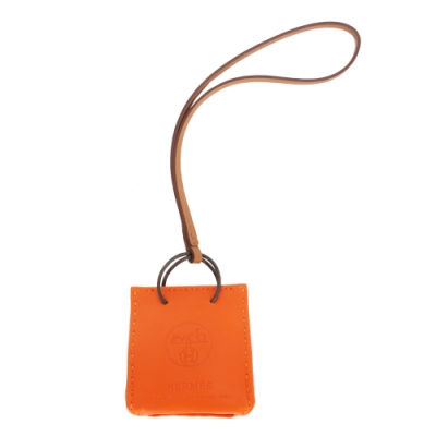 HERMES VIP限定 紙袋造型小羊皮吊飾(經典橘)