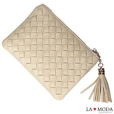 La Moda 女孩最愛手工編織設計小巧零錢包卡包(白)