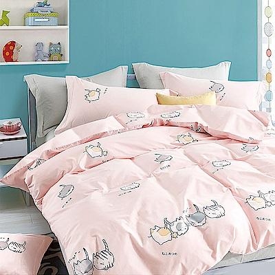 A-one 雪紡棉 雙人加大床包/薄被套四件組 輕甜貓咪