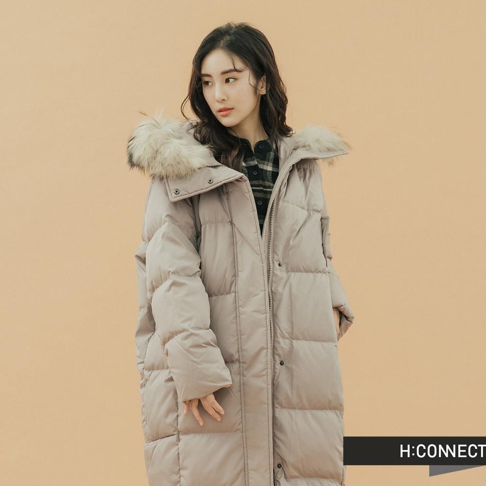 H:CONNECT 韓國品牌 女裝 - 極暖長版羽絨外套 - 棕