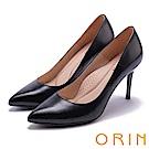 ORIN 簡約時尚名媛 真皮典雅素面高跟鞋-黑色