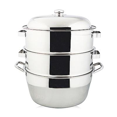 萬得威304不鏽鋼蒸籠組湯鍋30cm二入蒸盤