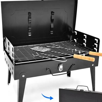 便攜手提箱式燒烤爐+配件組合    手提烤肉架子.帶蓋子烤肉網爐具