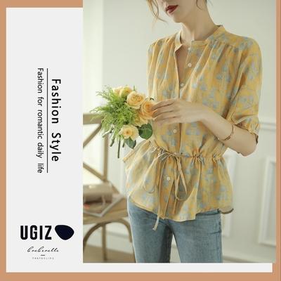 UGIZ-修身氣質優雅植物花卉立領造型上衣-黃色(M-XL)