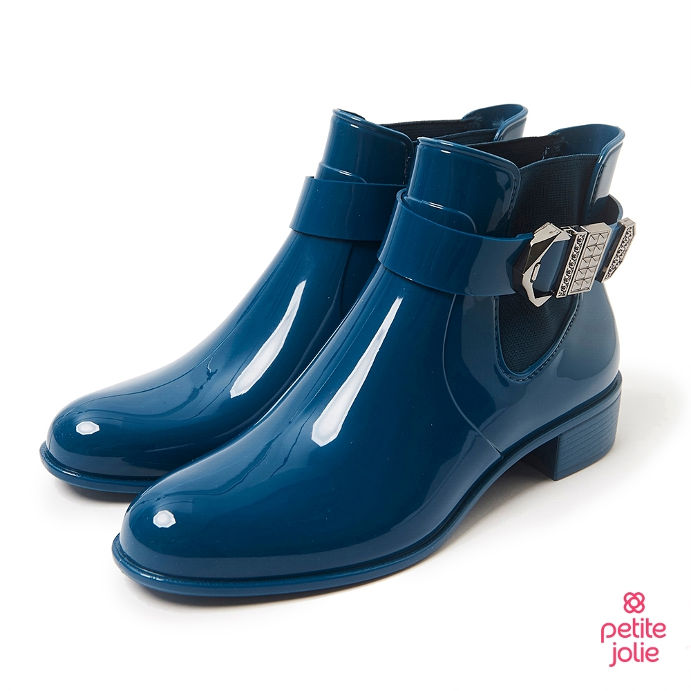 Petite Jolie-個性扣環切爾西短靴-蔚藍