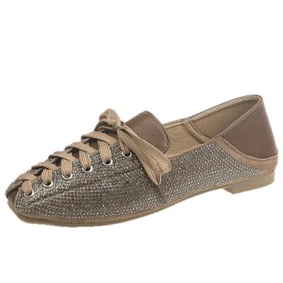 KEITH-WILL時尚鞋館 好評加碼美感方頭綁帶鞋-卡其