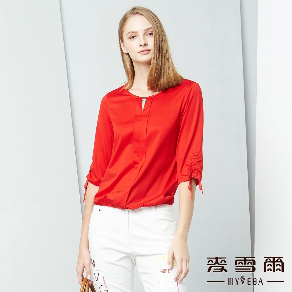 MYVEGA麥雪爾 絲光棉抽繩袖造型上衣-紅