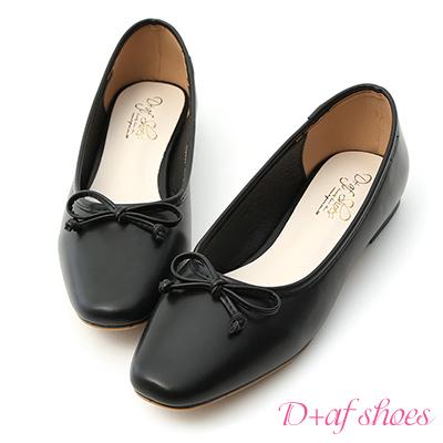D+AF 法式甜心.小方頭平底芭蕾娃娃鞋*黑
