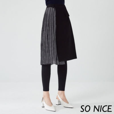 SO NICE個性格紋造型假兩件裙褲